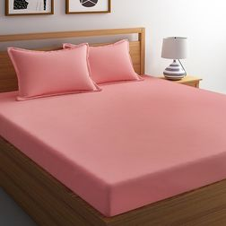 Satin Bed sheet with Two Pillowcovers, 100% Cotton 400 Thread Count, double, pink