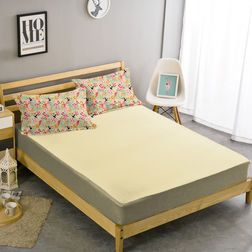 Double Bed Sheet With Two Pillow Covers BS-5, double, cream