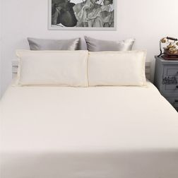 Satin Bed sheet with Two Pillowcovers, 100% Cotton 500 Thread Count, double, cream