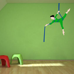 Kakshyaachitra Gymnastic Lady on Rope in Circus Kids Wall Stickers, 24 35 inches