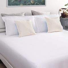 Satin Bed sheet 600 Thread Count with Two Pillowcovers, 100% Cotton, double, white