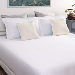 Satin Bed sheet with Two Pillowcovers, 100% Cotton 600 Thread Count, double, white