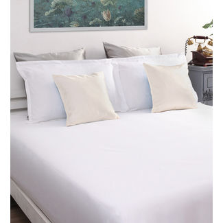 Satin Bed sheet 100% Cotton 800TC High Thread count with Two Pillowcovers, double, white