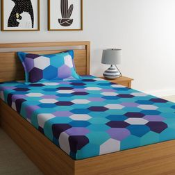 Dreamscape 100% Cotton 144TC Single Bed sheet With One Pillow Cover, single, blue