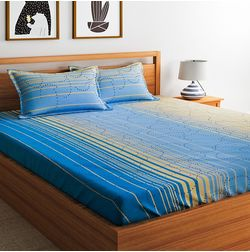 100% Cotton 140TC Stripe Designs Bed Sheet with 2 Pillow Covers, double, blue