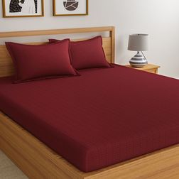 Satin Bed sheet 300 Thread Count with Two Pillowcovers, 100% Cotton,  dot maroon, double