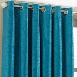 Shiva Solid Readymade Curtain - SJ721, window, blue