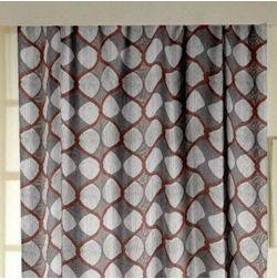 Zoya Geometric Readymade Curtain - FN709, grey, window