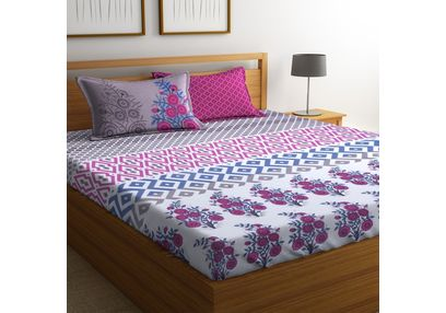 100% Cotton Bedsheets For Double Bed With 2 Pillow Covers, Dreamscape 140 TC Floral Printed Bedsheet, double, pink