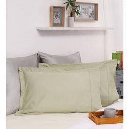 Dreamscape 100% Cotton 250TC Percale Green Pillow Pair, green
