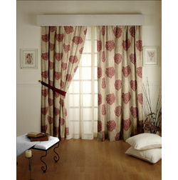 Jewel Floral Readymade Curtain - 22, door, red