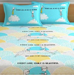 My Room exclusive lover themed romantic bed sheets with quotes & characters, 210TC satin premium bedsheets with 2 pillow covers, queen, (MR07), blue, double
