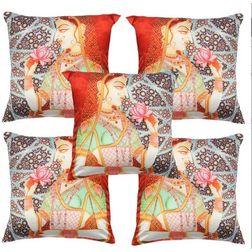 My Room Satin Orange & Blue Lady Cushion Covers, pack of 5, orange