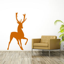 Kakshyaachitra Deer Wall Stickers For Bedroom And Living Room, orange, 48 87 inches