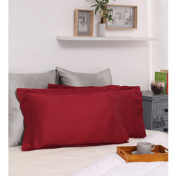 Dreamscape 100% Cotton 300TC Sateen Red Pillow Pair, red