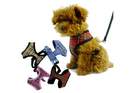 Puppy Love Checkered Cotton Vest Harness for Small to Medium Breed Dogs, red, extra large
