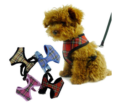 Puppy Love Checkered Cotton Vest Harness for Small Breed Dogs, red, large