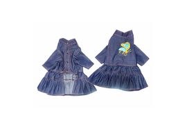 Zorba Party Wear Denim Dress for Puppy to Toy Breed Dog and Cats, blue