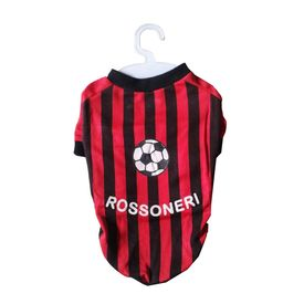 Nunbell Rossoneri Soccer Jersey or Tshirt for Small Dogs, 12 inch, red & black stripes
