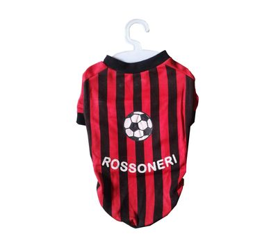 Nunbell Rossoneri Soccer Jersey or Tshirt for Small Dogs, 14 inch, red & black stripes