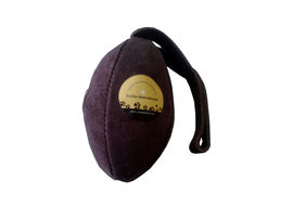 Zorba Leather Rugby Shape Play Toy for Dogs, dark brown