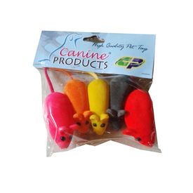 Canine 5 x 1 Soft Mouse Squeaky Cat Toy, multi colour