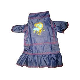Zorba Party Wear Denim Dress for Puppy to Toy Breed Dog, blue