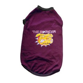 Rays Fleece Warm Rubber Print Tshirt for Medium Dogs, dark purple, 24 inch, the bouncer