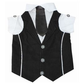 Zorba Party Tuxedo Suit for Toy Breed Dogs, black & white, 14 inch