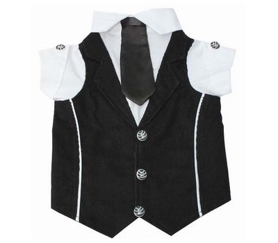 Zorba Party Tuxedo Suit for Medium Breed Dogs, 22 inch, black and white