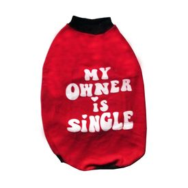 Rays Fleece Warm Onwer Single Rubber Print Tshirt for Medium Dogs, 22 inch, red