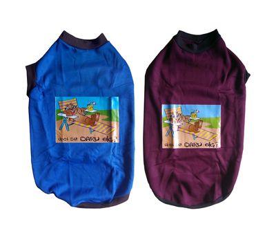 Rays Fleece Warm Rubber Print Tshirt for Large Dogs, 26 inch, blue daaru band