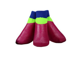 Puppy Love Neon Anti-Slip Waterproof Sock Shoes for Medium Breed Dogs, medium, neon magenta