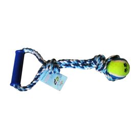 Canine Solid Ball Rope Play Tug with Plastic Handle, blue