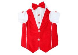 Zorba Party Tuxedo Suit for Large Breed Dogs, 26 inch, red & white