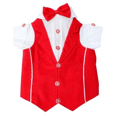 Zorba Party Tuxedo Suit for Medium Breed Dogs, 22 inch, red and white