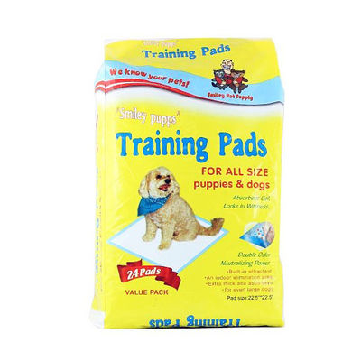 Smiley Pupps Dog Training Pads for All Size Puppies, 22 x 22 inch, 24 pads