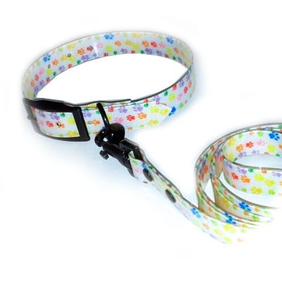 Puppy Love Printed TPU Collar and Leash Set for Small Breed Dogs, white paw printed