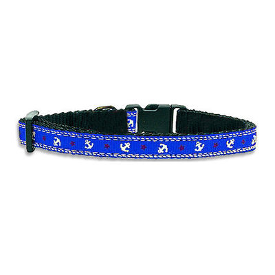 Kennel Designer Anchor Printed Adjustable Collar and Leash for Small Dogs, blue