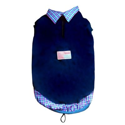 Rays Premium Double Fleece Warm Collar Tshirt for Large Dogs, navy blue flag, 28 inch