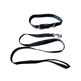 Kennel Nylon Collar with Lead Set for Medium to Large Dogs, black