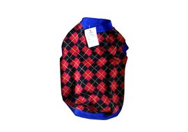 Rays Woollen Sweater for Small Dogs, 16 inch, red black checks
