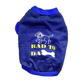 Rays Fleece Warm Rubber Print Tshirt for Toy Breed to Small Dogs, blue bad bone, 14 inch