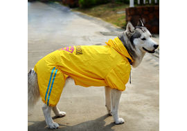 Puppy Love Jumpsuit Styled Superhero Raincoats for Large Breed Dogs, 6l, yellow