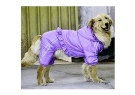 Puppy Love Frilly Jumpsuit Raincoat for Large Breed Dogs, 6xl, purple