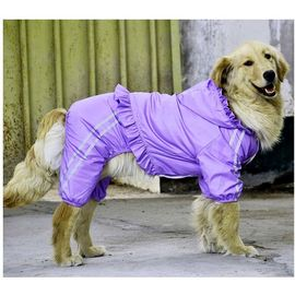 Puppy Love Frilly Jumpsuit Raincoat for Large Breed Dogs, 7xl, purple