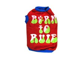 Rays Fleece Warm Born to Rule Rubber Print Tshirt for Small Dogs, 18 inch, red