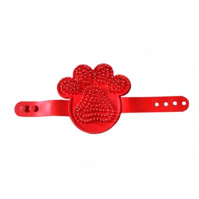 HT Hand Rubber & Steel Pin Massaging Bathing Brush for Pets, red