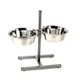 Canine Steel Bowl with Adjustable Metal Stand, large bowl