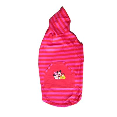 Zorba Designer Striped Hoodie for Small Dogs, 16 inch, pink with disney print
